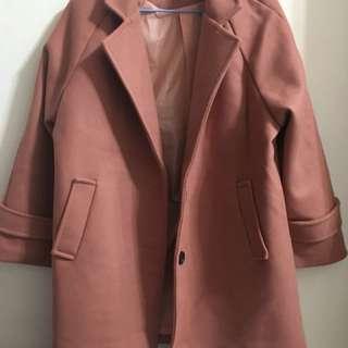 全新橘咖色大衣外套