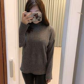 灰色高領針織衣