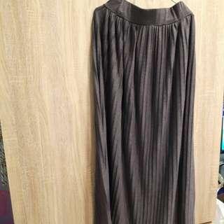灰色百摺長裙