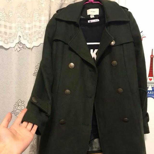 50%購入 軍綠色綁帶大衣