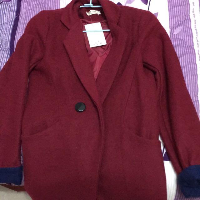全新紅色毛呢雙色外套大衣