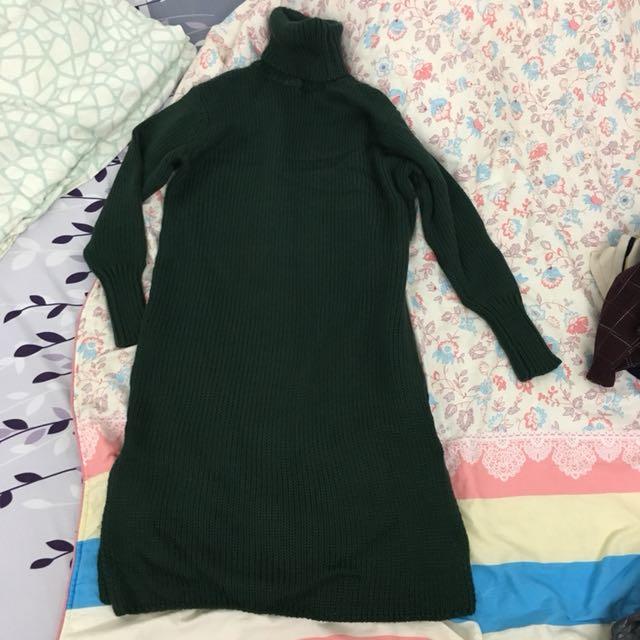 穿一次)高領毛衣洋裝
