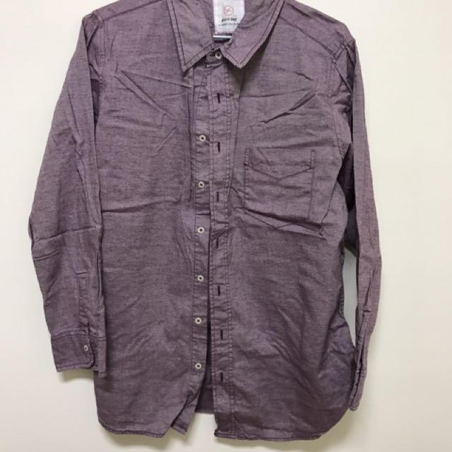 紫色厚磅數襯衫