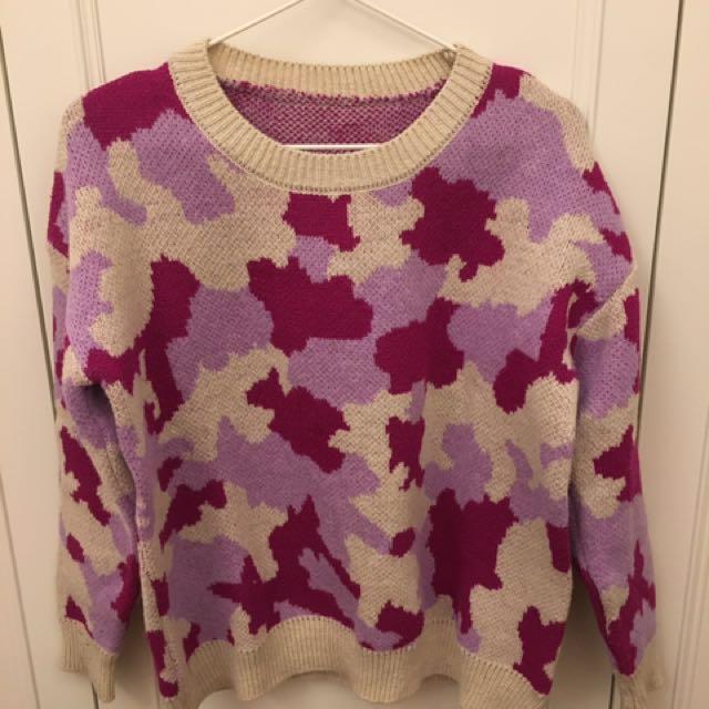 粉紅迷彩毛衣