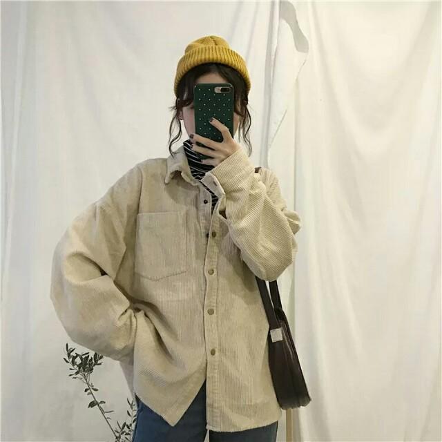 【預購】假兩件高領條紋燈芯絨襯衫