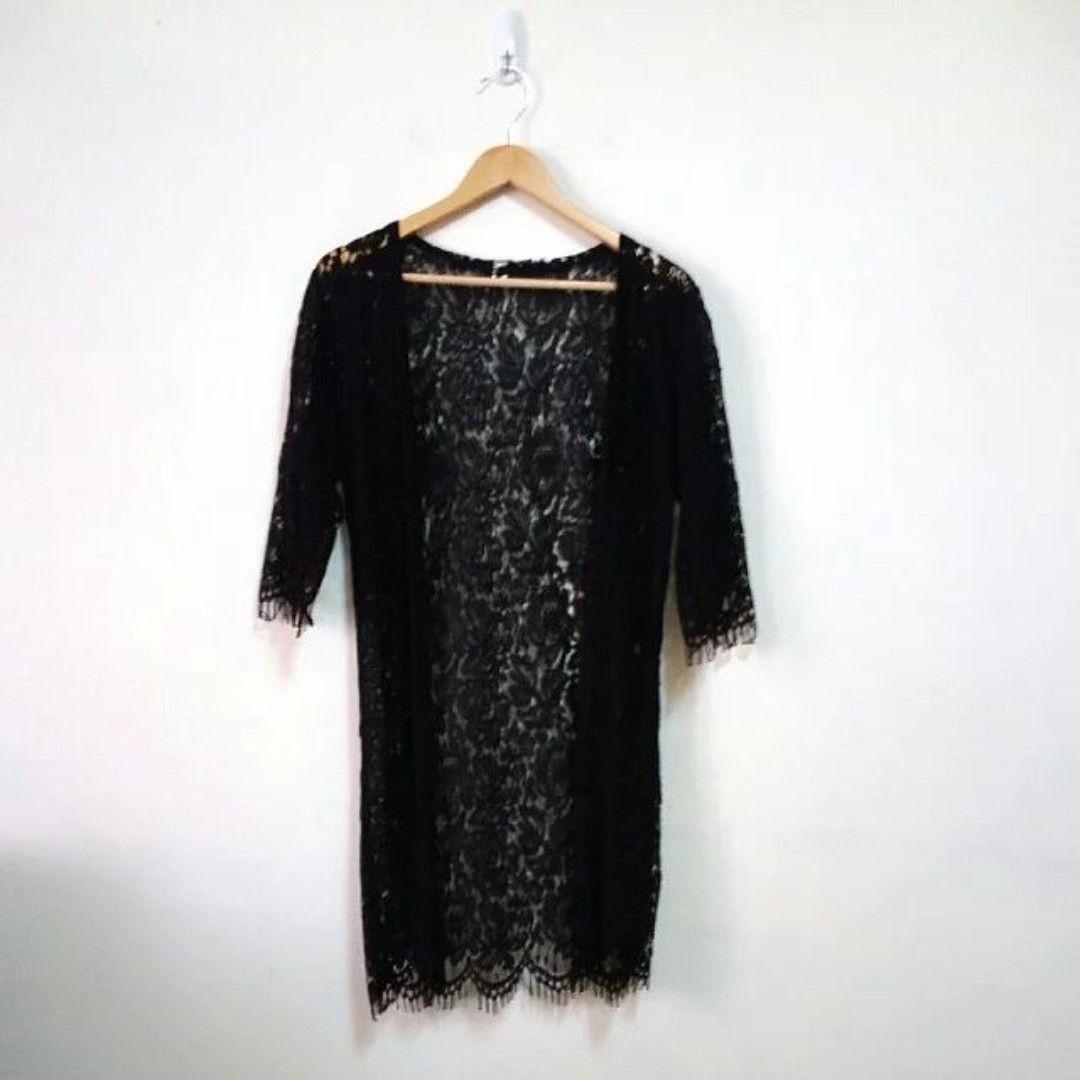 韓版雕花蕾絲長版罩衫外套
