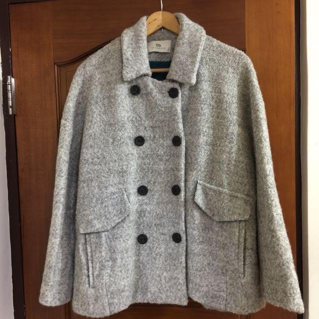 毛料斗篷式短版大衣厚外套