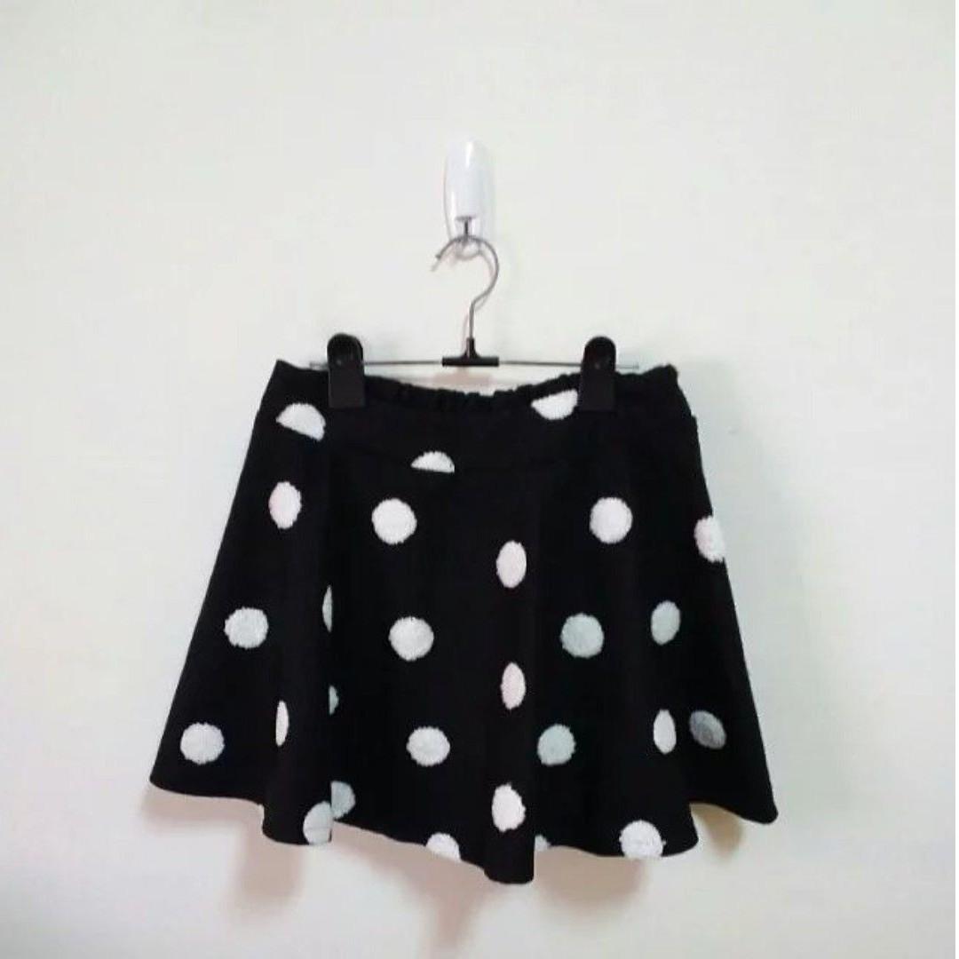 韓風針織點點毛呢傘擺短裙