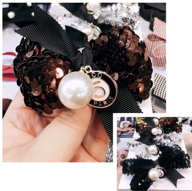 亮片立體 珍珠5號 髮束$260 自動夾$300 金 咖 銀 黑