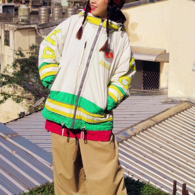 日本 滑雪鋪棉防風撞色外套
