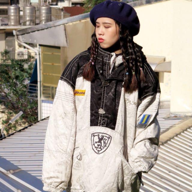 銀色 特殊款 滑雪防風鋪棉半開拉鍊連帽上衣