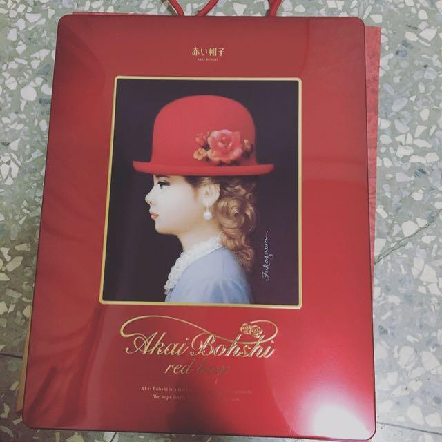 全新 日本 高帽子喜餅 紅盒 516公克
