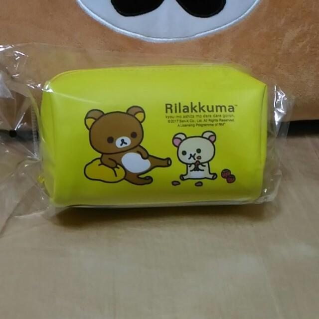 🎈全新-質感拉拉熊筆袋 收納袋 化妝包 拉鏈包 黃色 有內袋 熊妹