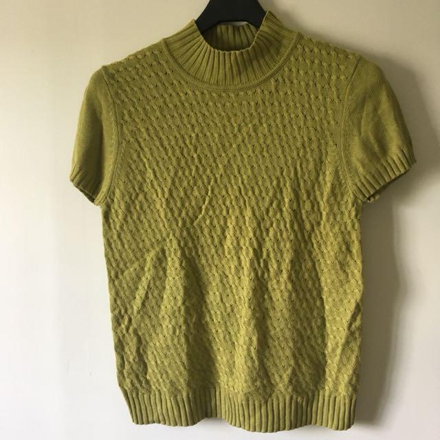 古著 Vintage草綠色紋理毛衣上衣/背心