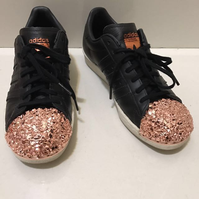 Adidas Originals Black Leather Superstar 80s With Rose Gold 3D Metal Toe Cap