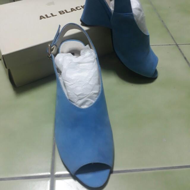 All black 水藍魚口鞋中跟鞋