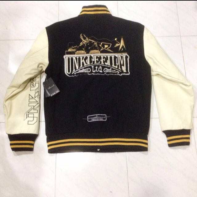 Archival collection Surrender X Unkle 77 X Futura Embroidery Bomber Fraternity College Sports Jacket Unused With Tags 'Mo Wax' DJ Shadow James Lavelle Graffiti Artist Futura Trip Hop Hip Hop Genuine Calf Leather Sleeves Limited Edition
