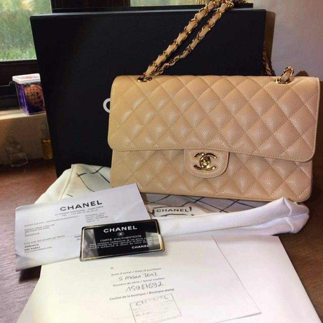 Authentic Chanel Classic Quilted Flap Bag Caviar Medium Beige Gold Hw Luxury Bags Wallets On Carou