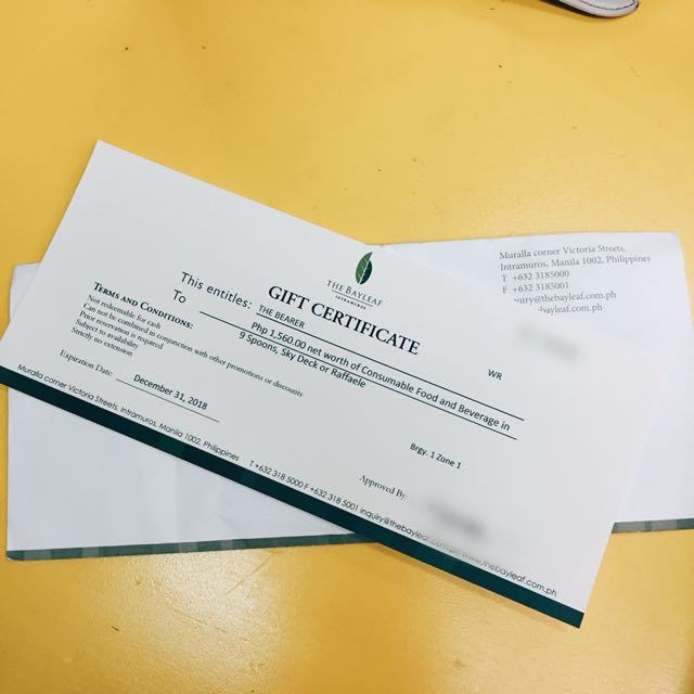 Bayleaf Dining Gift Certificate (p1560 worth)