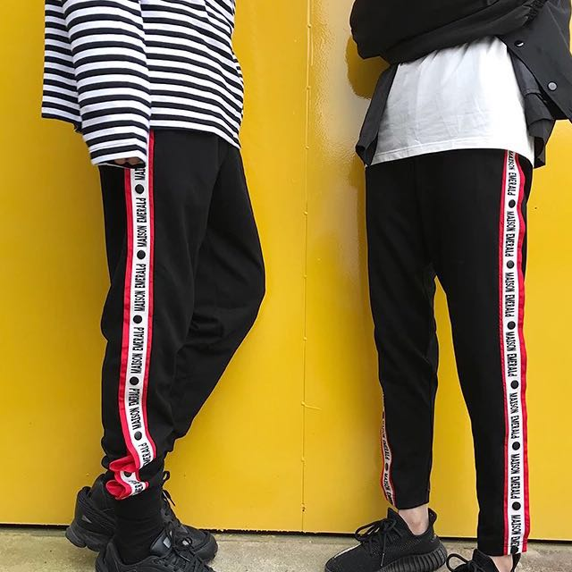 Black + red jogger trousers