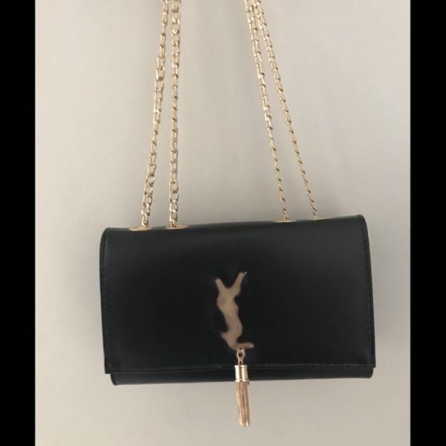 Black clutch gold chain luxury bag