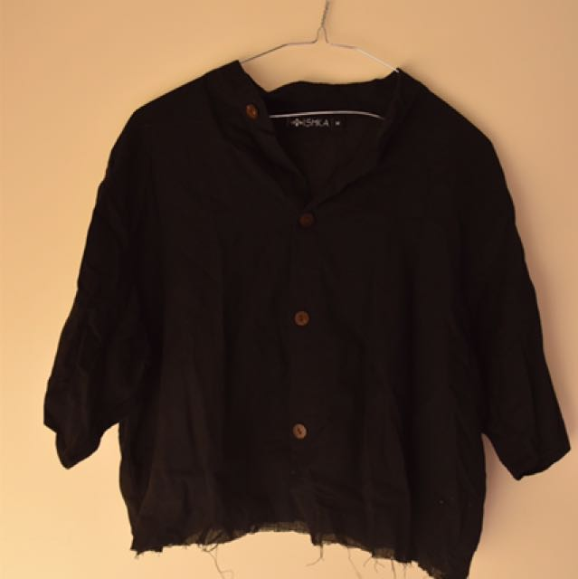 Black Ishka Cropped Button Up