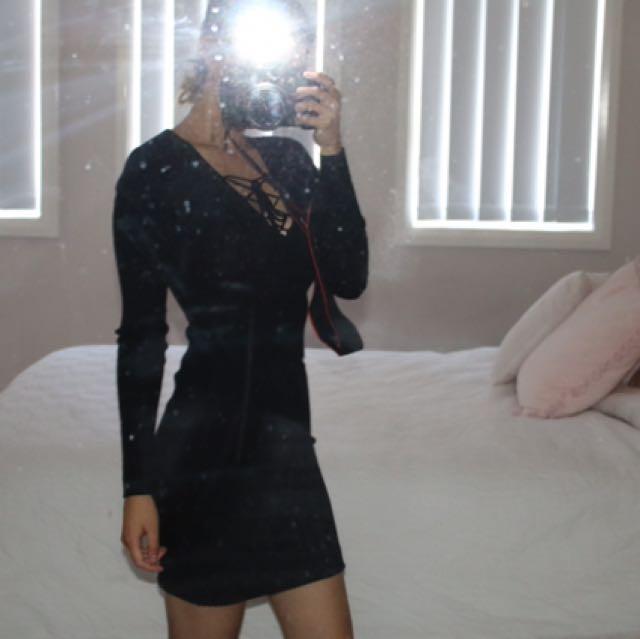 Black Lace Up Ribbed Dress
