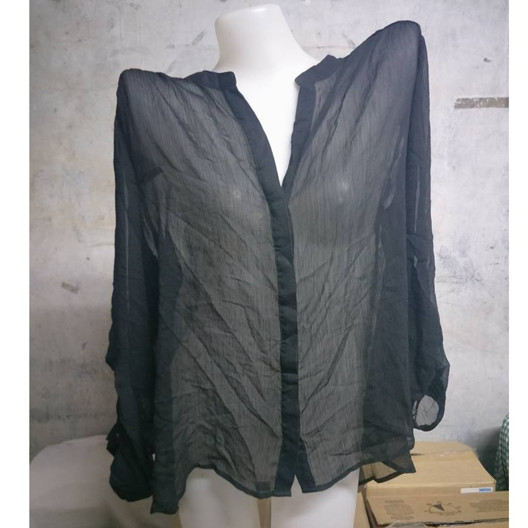 Black See-Through Long Sleeve Polo Blouse