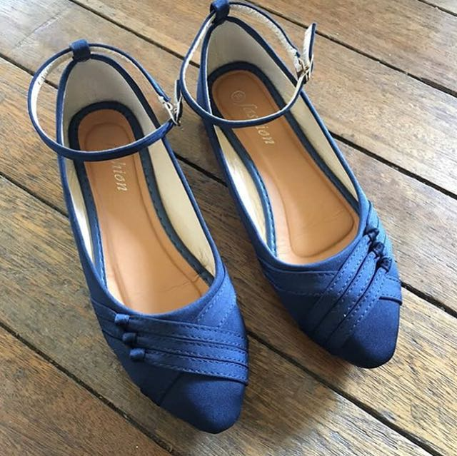 Blue ballet flats with straps