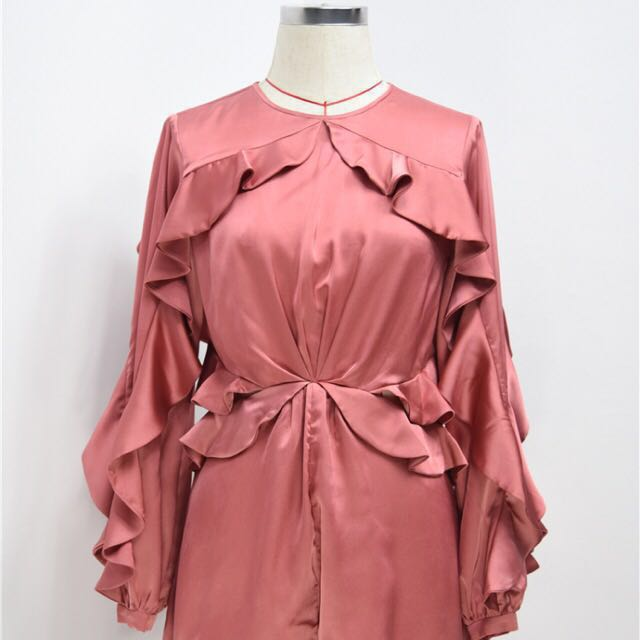 4cf1078d3f BNIP Lou Flounce Satin Winsome Flutter Playsuit in Amber Pink ...