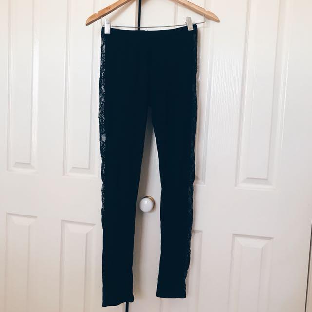 BOOHOO Lace Side Leggings (Black)