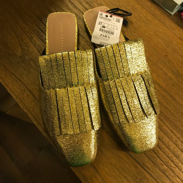 Brand New ZARA Gold Mules