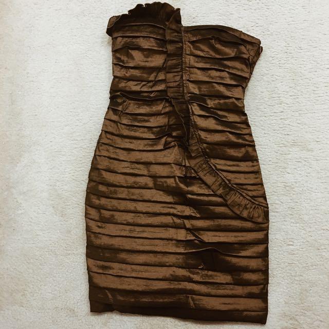 Bronze strapless dress