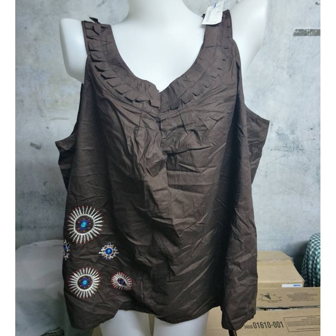 Brown Sleeveless Embroidered Top