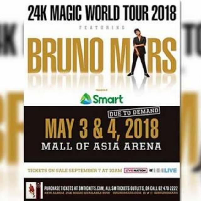 2 PCS - Bruno Mars May 4 VIP 1 Tickets