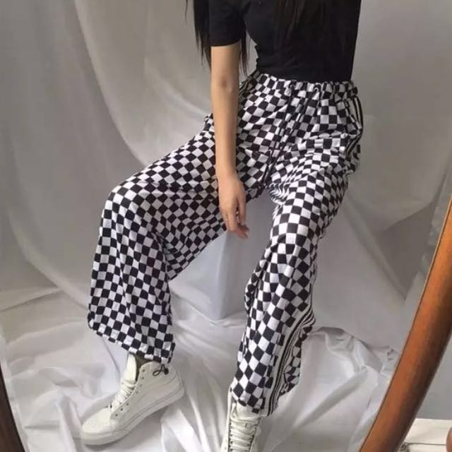 211172905c Checkered Inspired Vans Pants Black And White Tumblr Hypebae ...