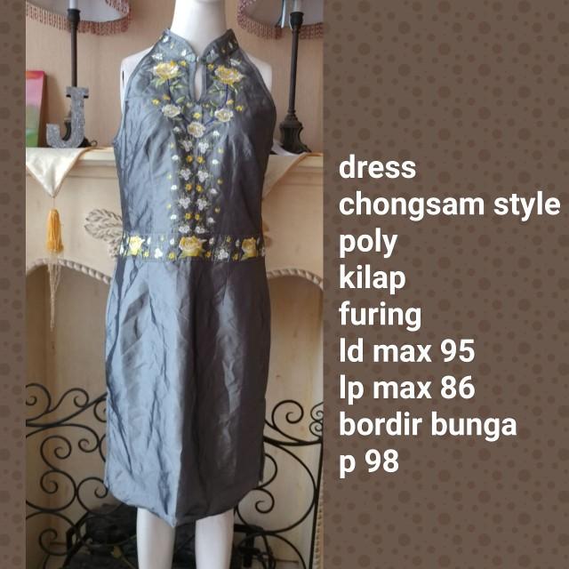 Chongsam chinese dress greyish