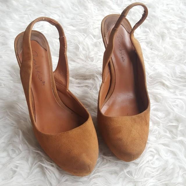 ck brown suede pump heels