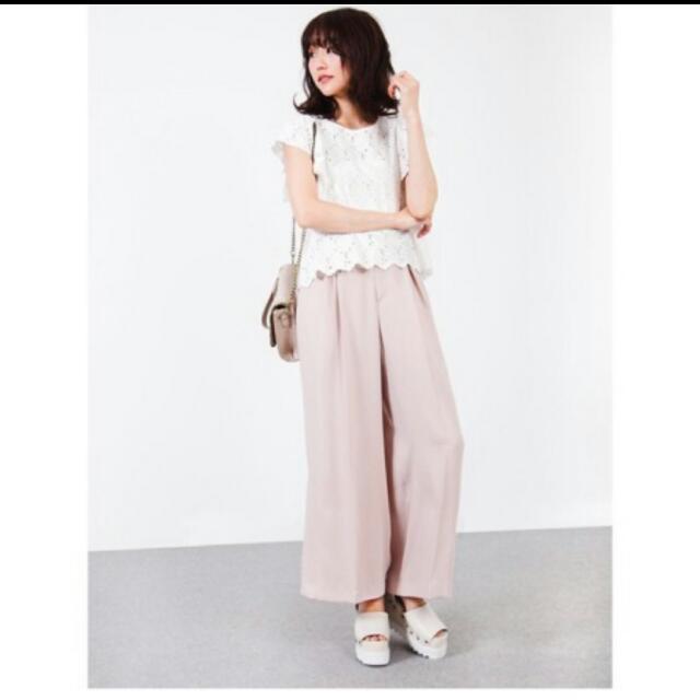 全新轉賣日本專櫃品牌coco deal正品粉色雪紡寬褲 #正韓 #snidel