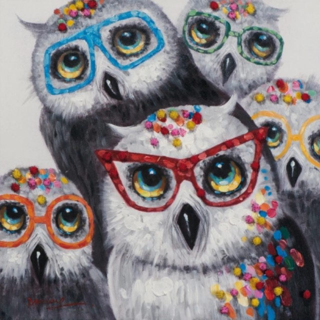 Colorful Owls Handpainted Canvas Oil Painting