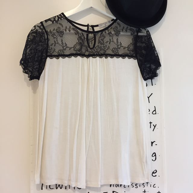 Cotton On white top with lace