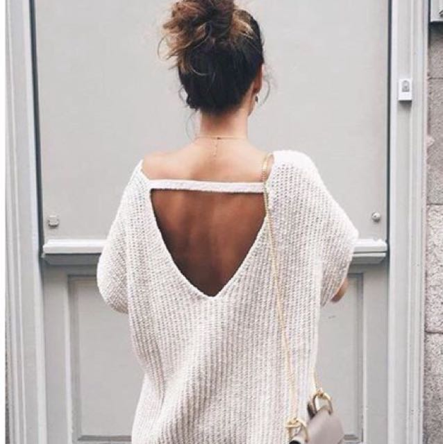 Cream Cut-Out Knit Sweater
