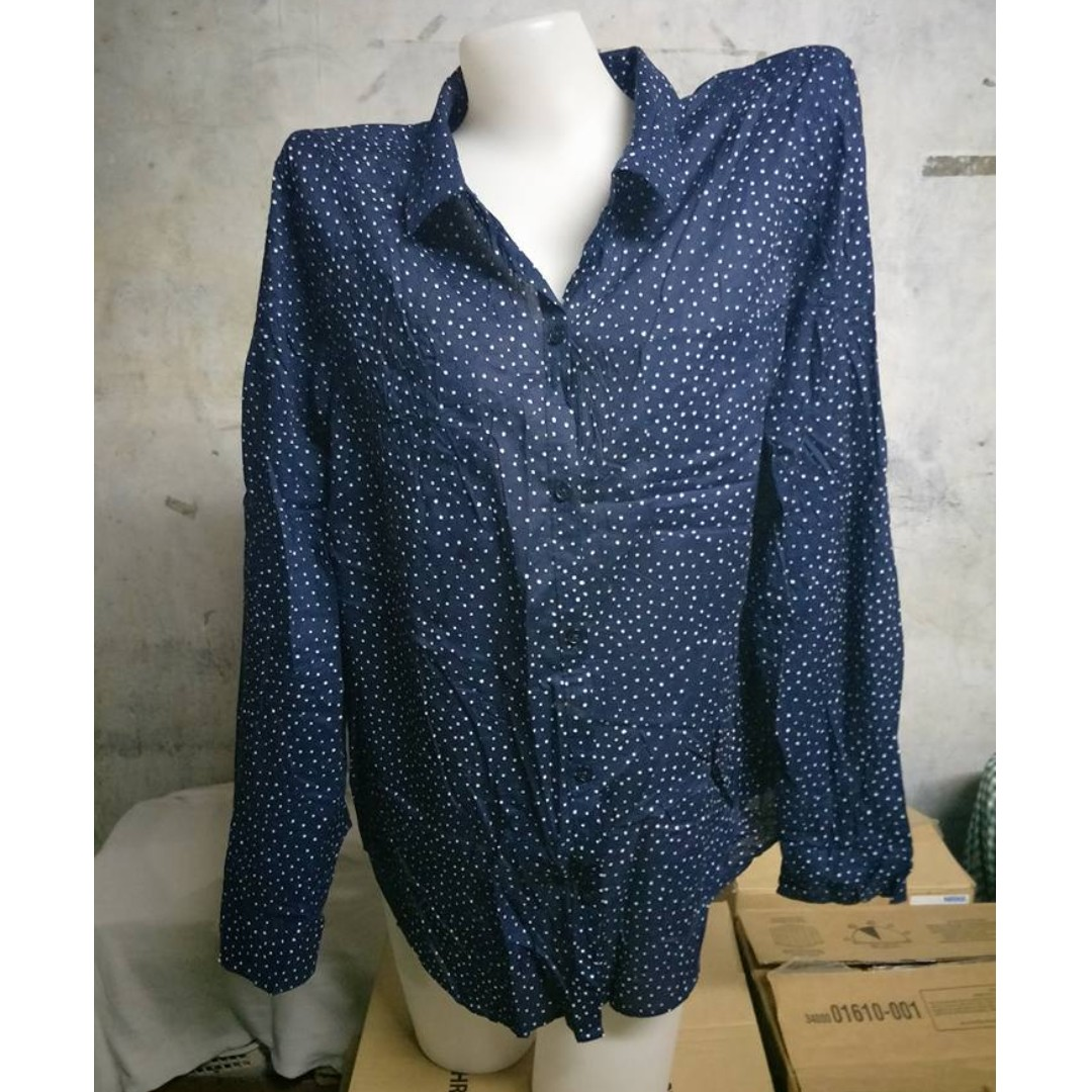 Dark Blue Polka Dots Long Sleeve Polo Shirt