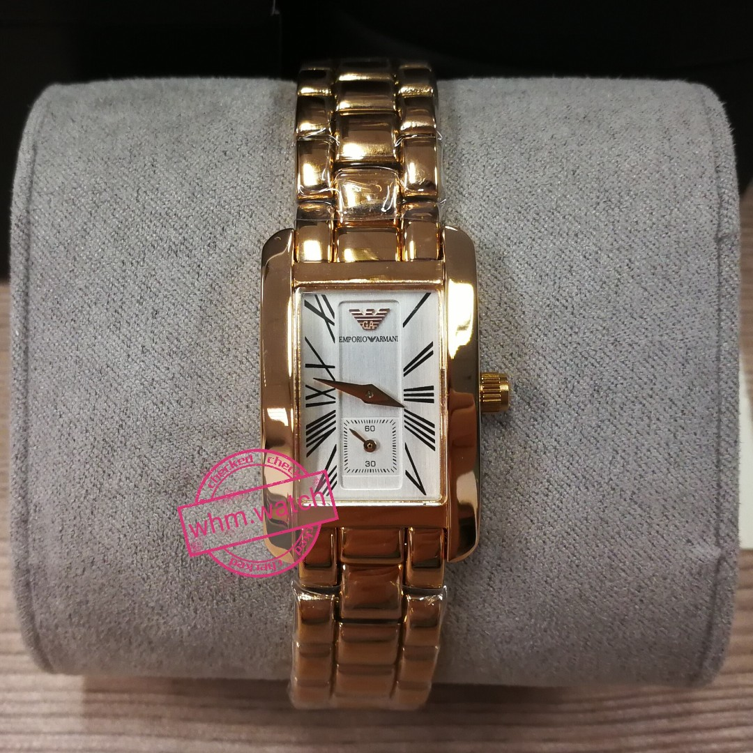bb61a7af EMPORIO ARMANI #AR0174 Classic White Dial Rose Gold-tone Ladies ...
