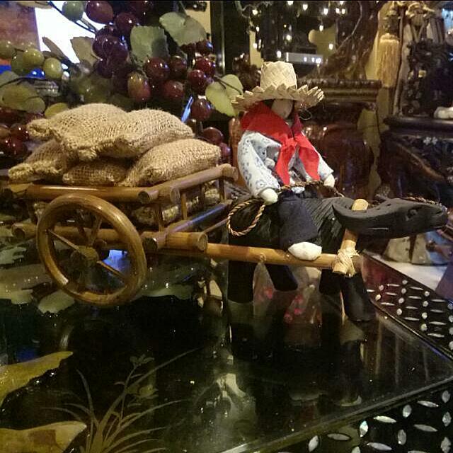 Farmer On Buffalo Rattan Cart Decor Item Vietnam
