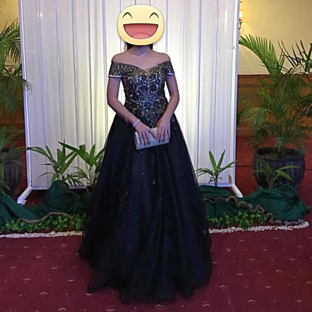 FOR RENT Black-Gold Ball Gown