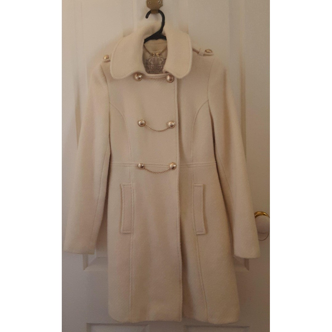 Forever New White Cream Gold Chain Buttons Military Coat Jacket Gossip Girl - size 6