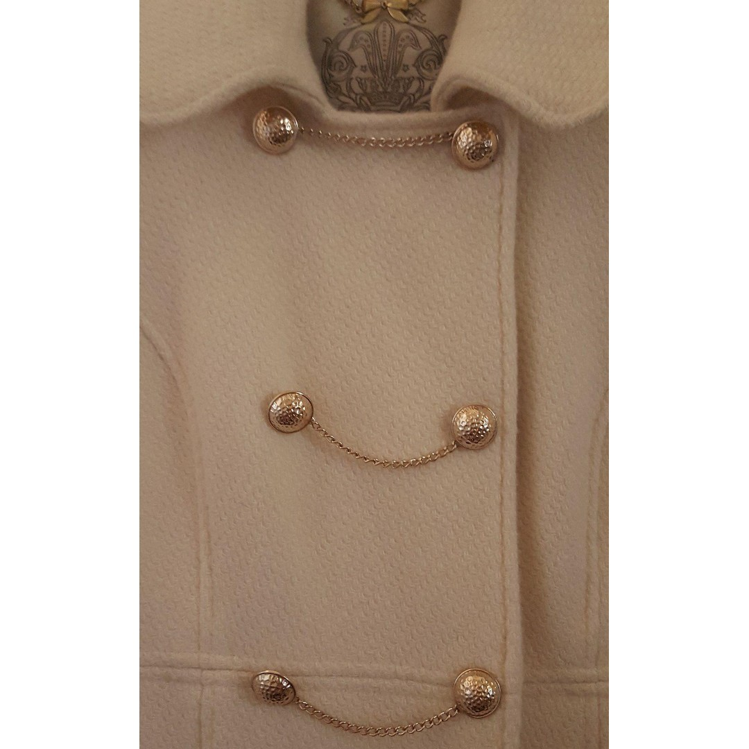 Forever New White Cream Gold Chain Buttons Military Coat