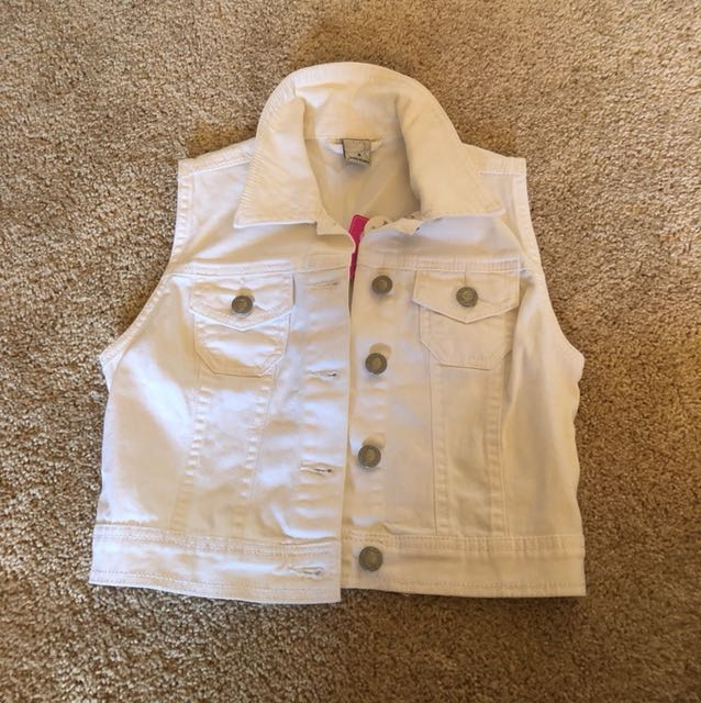 Girls Size 9 White Denim Vest BNWT
