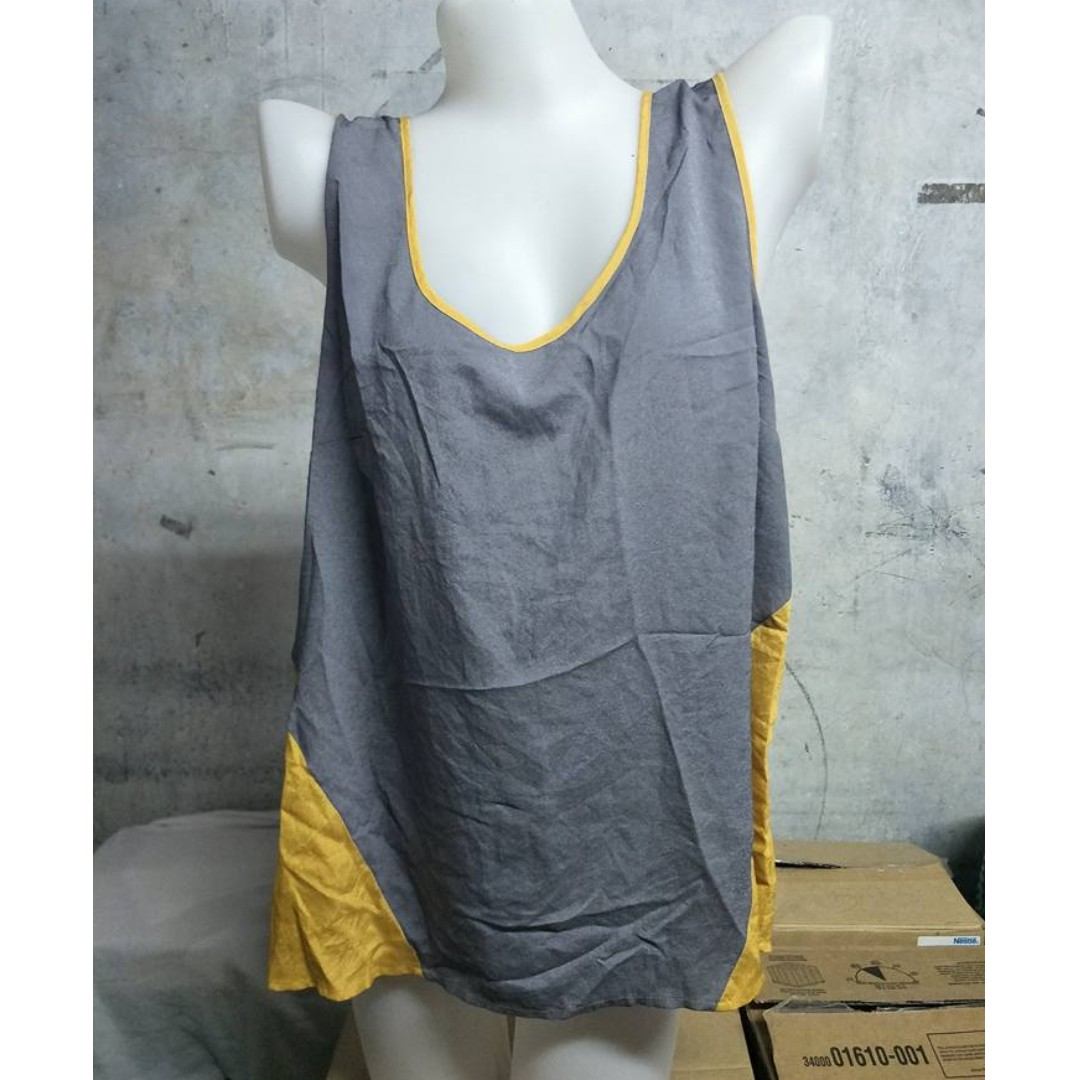 Gray and Yello Sando Sleeveless Racerback